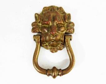 Vintage Lion Head Door Knocker in Solid Brass. Circa 1960's.