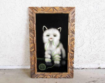 Vintage Velvet Painting of White Cat with Yarn Ball / Kitsch Velvet Art. Circa 1970's.