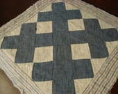 Antique Early 1900 Handstitched Blue And White Quilt Block ~ Nice Blue Print Backing