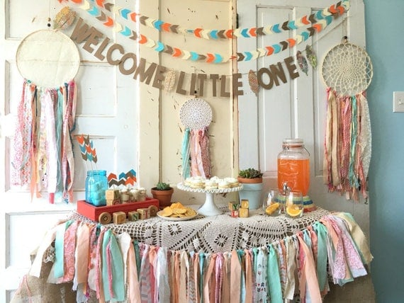 Welcome little one banner for baby shower boho modern baby for Welcome home decorations ideas