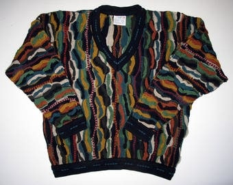 COOGI Australia Sweater size Mens L Cotton, Long Sleeve V Neck Sweater, Hipster Textured Muted Fall Colorful Squiggle Stripes Multi
