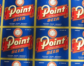 Point Beer 1950's UNCUT Four Sheets Point Beer Labels