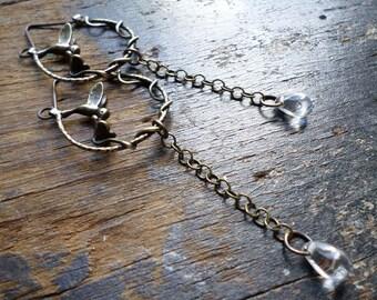 Hummingbird & Flower Hoop Earrings, Rustic Nature Garden Feminine Romantic Brass Hoops, Handmade Artisan Jewelry