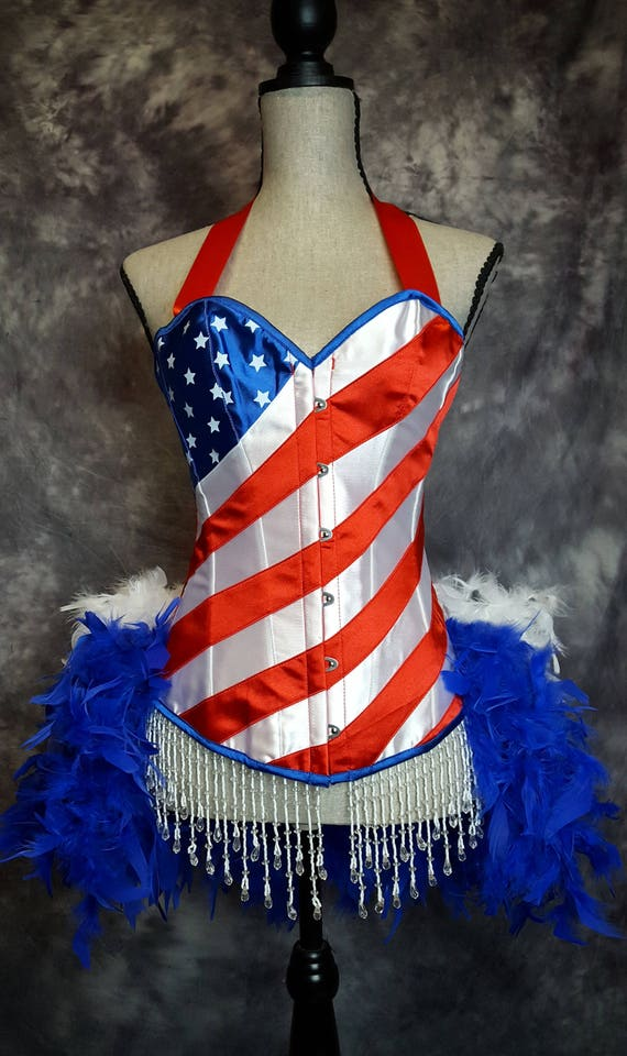 Medium - 4th of July Costume USA American Flag dress Burlesque USO Dance