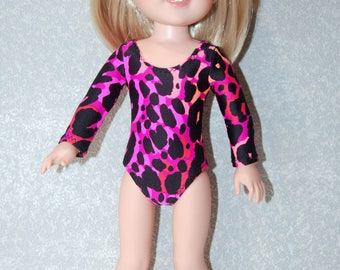 Gymnastics Leotard Doll Clothes Pink Coral Black Spots handmade for 14.5 inch Wellie Wishers tkct1144 READY TO SHIP