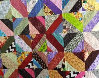 Baby quilt or lap quilt - scrappy strip design