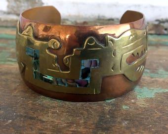 Vintage Brass Copper Cuff Bracelet Dragon Inlaid abalone Shell SouthWestern