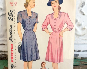 1940's Simplicity one Piece Dress Sewing Pattern Bust 38 hip 41