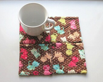 brown cats and kittens hand quilted set of mug rugs coasters