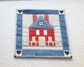 vintage fabric house hand quilted table mat, center piece, wall hanging    you decide its use!
