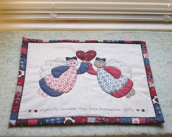marked down was 15 now 12 vintage fabric angels hand quilted table mat, center piece,  you decide its use!