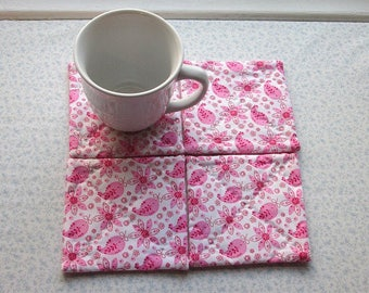 MARKED DOWN was 10 NOW 6 pink paisley flowers hand quilted set of mug rugs coasters