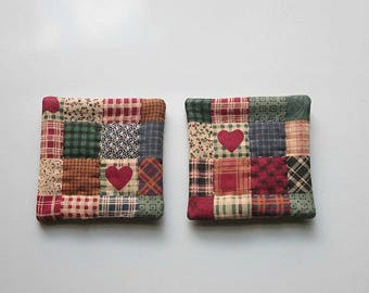 refrigerator magnets red country hearts hand quilted set of 2