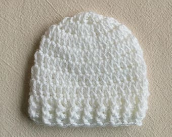 White Baby Hat, CROCHET BABY HAT, Newborn Hat, Baby Boy, Baby Girl, White Beanie, Gender Neutral Baby Hat, Toddler Crochet Hat, Baby Boy