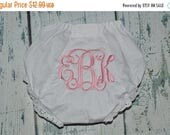 ON SALE Baby Bloomers Monogrammed Baby Girl Bloomer, Diaper Cover with Monogram, Newborn Bloomers, Personalized Baby Bloomers