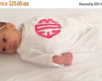 ON SALE Personalized Baby Sleeper Romper, Monogrammed Coming Home Outfit, 0-3 Month, 3-6 Month, 6-12 Month