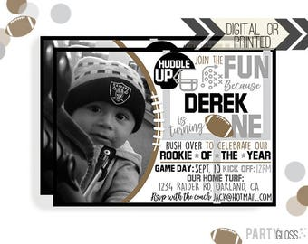 Football Birthday Invitation   Digital or Printed   Football Invitation   Rookie Year Invitation    Rookie Invite   Oakland Football  