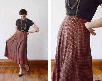 1980s Ombre Plaid Skirt - L