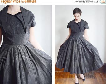 Summer Sale - 1950s Black Floral Taffeta Party Dress - M/L