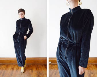 1980s Dark Blue Velour Jumpsuit - M/L