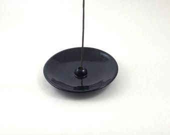 INCENSE BURNER BLACK Handmade Ceramic Pottery
