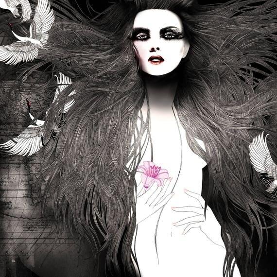 Fashion Poster // Fashion illustration art print // Sophisticated feminine illustration // Black and white art prints / Woman's body