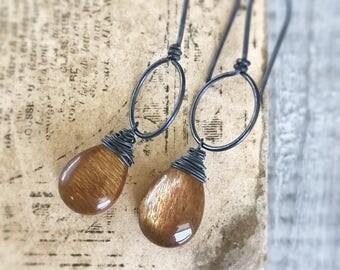 Moss Moonstone Earrings, Sterling Silver Earrings, Orange Earrings, Moss Moonstone Jewelry, Silver Moonstone Earrings, Moon Phase Earrings