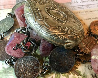 Beautiful Antique French Mirror Slide Locket Necklace