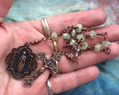 Our Lady of Lourdes- Beautiful Wire Wrapped Tenner in Copper, Phrenite and Faceted Clear Quartz