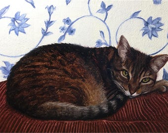 Tabby Glance - Original Cat Painting by Nancy Cuevas - LIttle Kitty Paintings