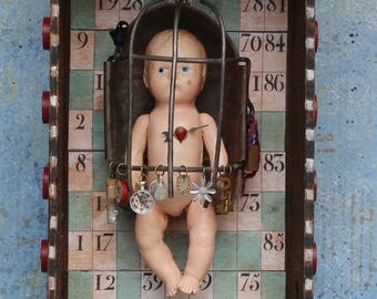 """Assemblage Art Found Object Shrine Shadow Box Mixed Media """"Leaving the Nest"""""""