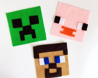 Iron On Applique/Patch x 3 Combo - Minecraft Inspired - Made Out of 100% Recycled Felts