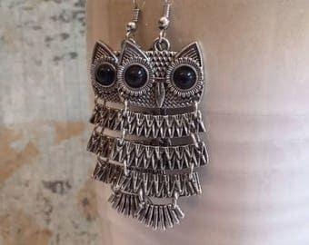 Large Owl Earrings, Dancing Owls, Statement Earrings