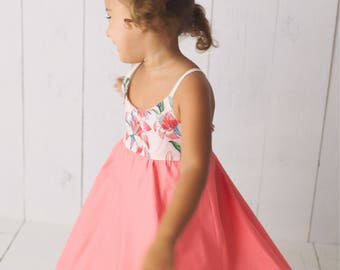 Girl's Dress - Twirly Tiger Lily in Coral - Baby Girl Dress / Toddler Girl Dress / Girl Dress - by bitty bambu