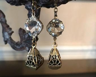 Vintage Repurposed OOAK Crystal and Brass Dangle Earring