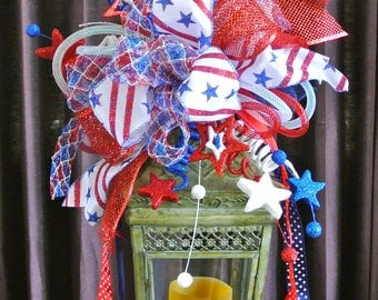 4th Of July Patriotic Lantern Swag with Top Hat and Stars,Patriotic Lantern Swag,4th of July Lantern Swag,Party Decoration,Glittery Top Hat