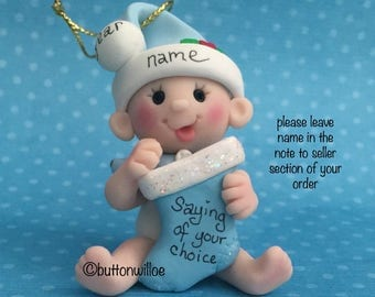 Babys First Christmas 2nd Christmas Personalized ornament baby boy blue or baby girl pink or green holding Christmas Stocking with gift box