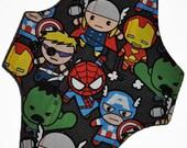 Moderate Hemp Core- Marvel Heroes Reusable Cloth Maxi Pad- WindPro Fleece- 10 Inches (25.5 cm)