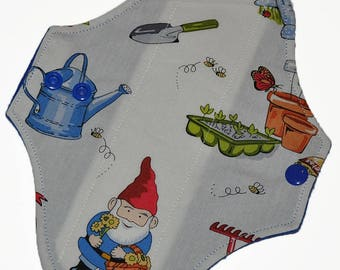Liner Core- Gnomes in the Garden Reusable Cloth Pantyliner Pad- Flannel Backed- 8.5 Inches