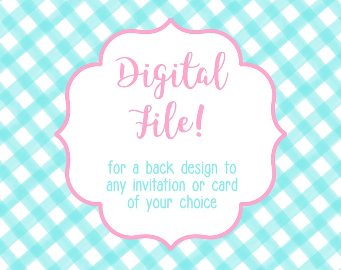 DIGITAL FILE for Back of Card design Invitation Holiday Christmas Card Announcement - Use this link to purchase a printable file