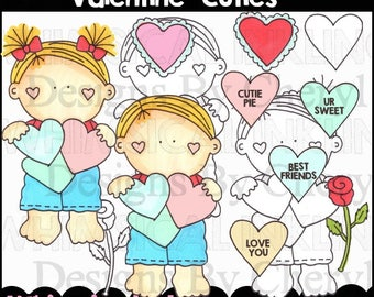 Valentine Kids Clipart Collection- Immediate Download