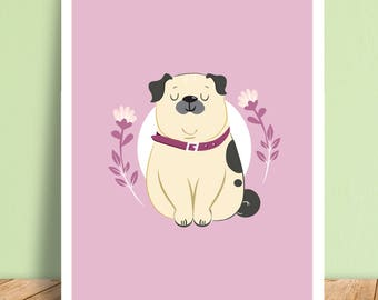 Pug Dog Cartoon Character Art Print Illustration A5