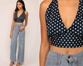 Crop Top Halter Top 70s CROPPED Deep V Neck POLKA DOT Shirt Backless Blouse 1970s Hippie Boho Blue Open Back Summer Bohemian Small Medium