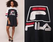 Fila T Shirt Dress 90s Mesh Football Jersey Athletic TShirt Running Top Retro Tee Vintage Streetwear Sports Extra Large xl