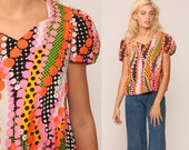 Hippie Blouse Floral Shirt 70s Boho Top Psychedelic Print Blouse PUFF SLEEVE Dot Mod Bohemian Retro Vintage 1970s Pink Orange Small