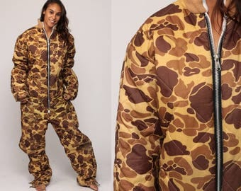 Military Jumpsuit Army Hunting Onesie Camo Pants 80s Vintage Snowsuit Camouflage Outfit One Piece Winter Quilted Extra Large xl