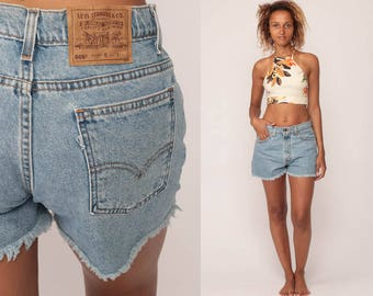 Levis Shorts Cut Off Shorts 80s Denim Shorts Levi Cutoff Jean Shorts FRAYED High Waisted Cutoffs 1980s Vintage Large 31