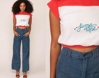 Crop Top Terry Cloth Shirt JUMP ROPE Retro Shirt 80s Shirt Boho Cap Sleeve Top Vintage 70s Color Block Red White Hipster Small Medium