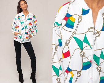 Nautical Jacket Flag Jacket 90s Zip Up Sweatshirt Sailor Slouchy Hipster Vintage 80s White Retro Medium