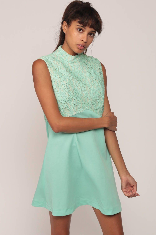 60s Mini Dress Lace Party Dress 70s Babydoll Mod LIME Green